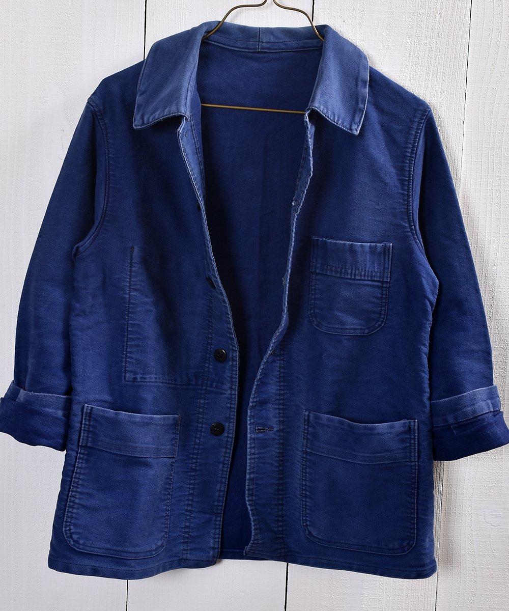 Vintage EURO Moleskin Work Jacket French Blue |ヴィンテージ ユーロモールスキンワークジャケット カバーオール フレンチインクブルーサムネイル