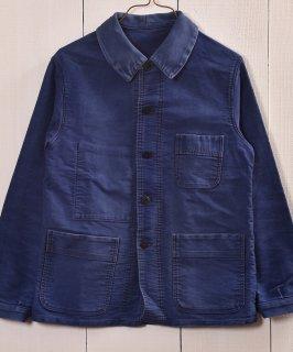 古着Vintage EURO Moleskin Work Jacket French Blue  ヴィンテージ ユーロモールスキンワークジャケット カバーオール フレンチインクブルー 古着のネット通販 古着屋グレープフルーツムーン