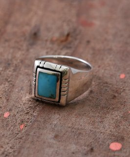 古着Silver Ring 9x7mm Turquoise Square Pedestal | スクエア台座 ターコイズ シルバーリング 古着のネット通販 古着屋グレープフルーツムーン