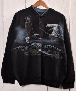 古着Made in Mexico Eagle Animal Print Sweat|メキシコ製 イーグル プリントスウェット ヘンリーネック 古着のネット通販 古着屋グレープフルーツムーン