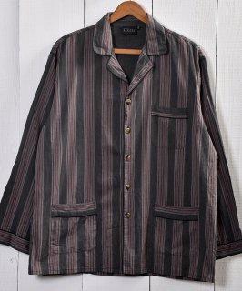 古着Dark Gray &Wine Red Stripe Pattern Pajamas Shirt |ダークグレー&ワインレッドストライプ パジャマシャツ 古着のネット通販 古着屋グレープフルーツムーン