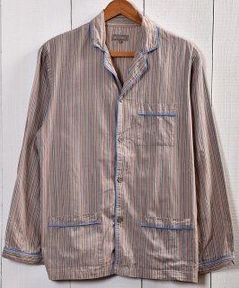 古着Old pattern Trim Design Stripe Pajamas Shirt |オールド風 ストライプパジャマシャツ 古着のネット通販 古着屋グレープフルーツムーン