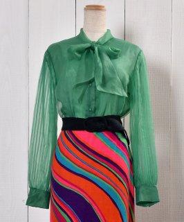 古着Pleats Sleeve Sheer Shirt with Bowtie|ボウタイ付きプリーツスリーブ シアーシャツ 古着のネット通販 古着屋グレープフルーツムーン