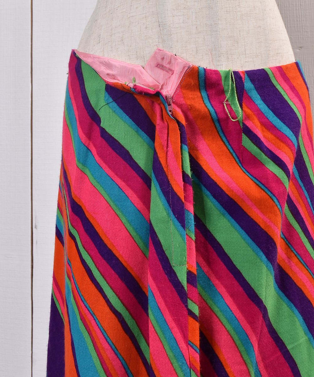 60's Psychedelic Multi Pattern Skirt with Slit|60年代サイケデリックデザイン スリット入りスカートサムネイル