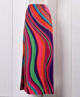 古着60's Psychedelic Multi Pattern Skirt with Slit|60年代サイケデリックデザイン スリット入りスカート 古着のネット通販 古着屋グレープフルーツムーン