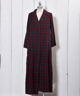 古着Check Flannel Piping Collar Gown |チェック フランネル パイピングカラー ガウン 古着のネット通販 古着屋グレープフルーツムーン