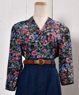 古着Made in THE U.K Flower Pattern Three quarter sleeve Shirts|イギリス製 花柄 七分袖シャツ 古着のネット通販 古着屋グレープフルーツムーン