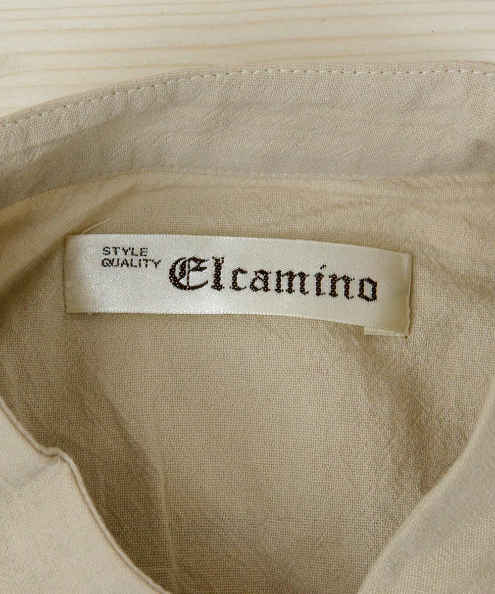 【4色展開】「Elcamino」チャイナボタン 半袖ワンピース ベージュ サムネイル