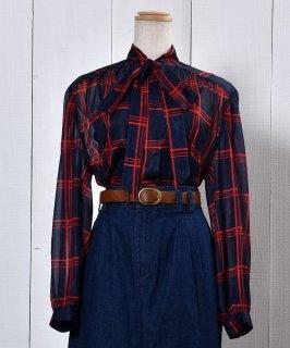 古着 Check Ribbon Tie See-through Blouse |チェック リボン タイ シースルー ブラウス 古着のネット通販 古着屋グレープフルーツムーン