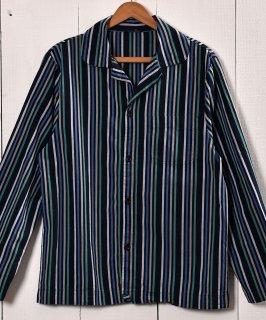 古着Stripe Pattern Pajamas Shirt | ストライプ パジャマシャツ グリーン×ネイビー 古着のネット通販 古着屋グレープフルーツムーン
