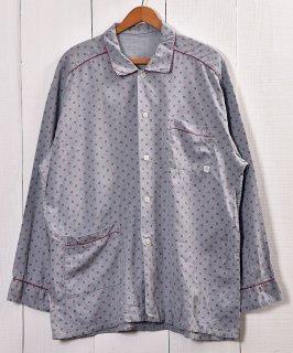 古着Dot Pattern Pajamas Shirt |ドット柄 パジャマシャツ | グレー系 古着のネット通販 古着屋グレープフルーツムーン