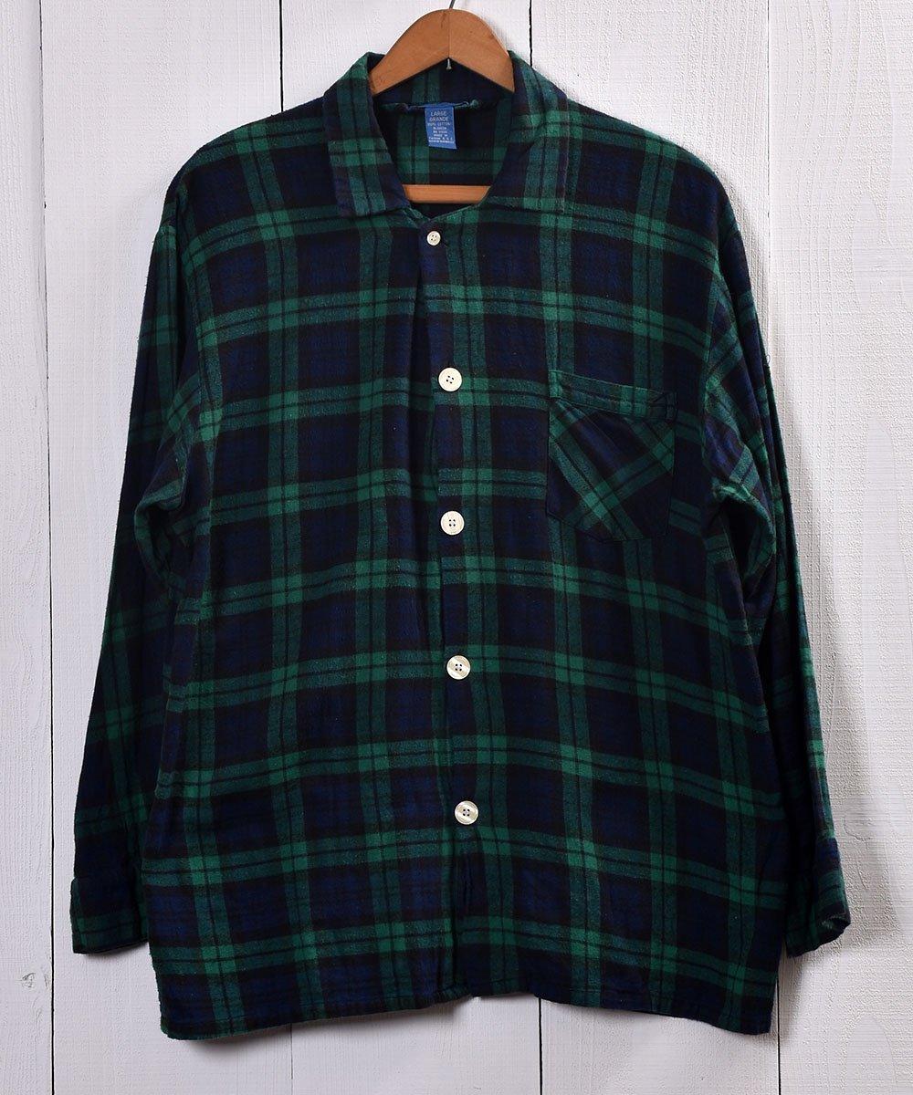 古着 TOWN CRAFT Check Pattern Pajamas Shirt |タウンクラフト チェック柄パジャマシャツ | グリーン系 古着 ネット 通販 古着屋グレープフルーツムーン