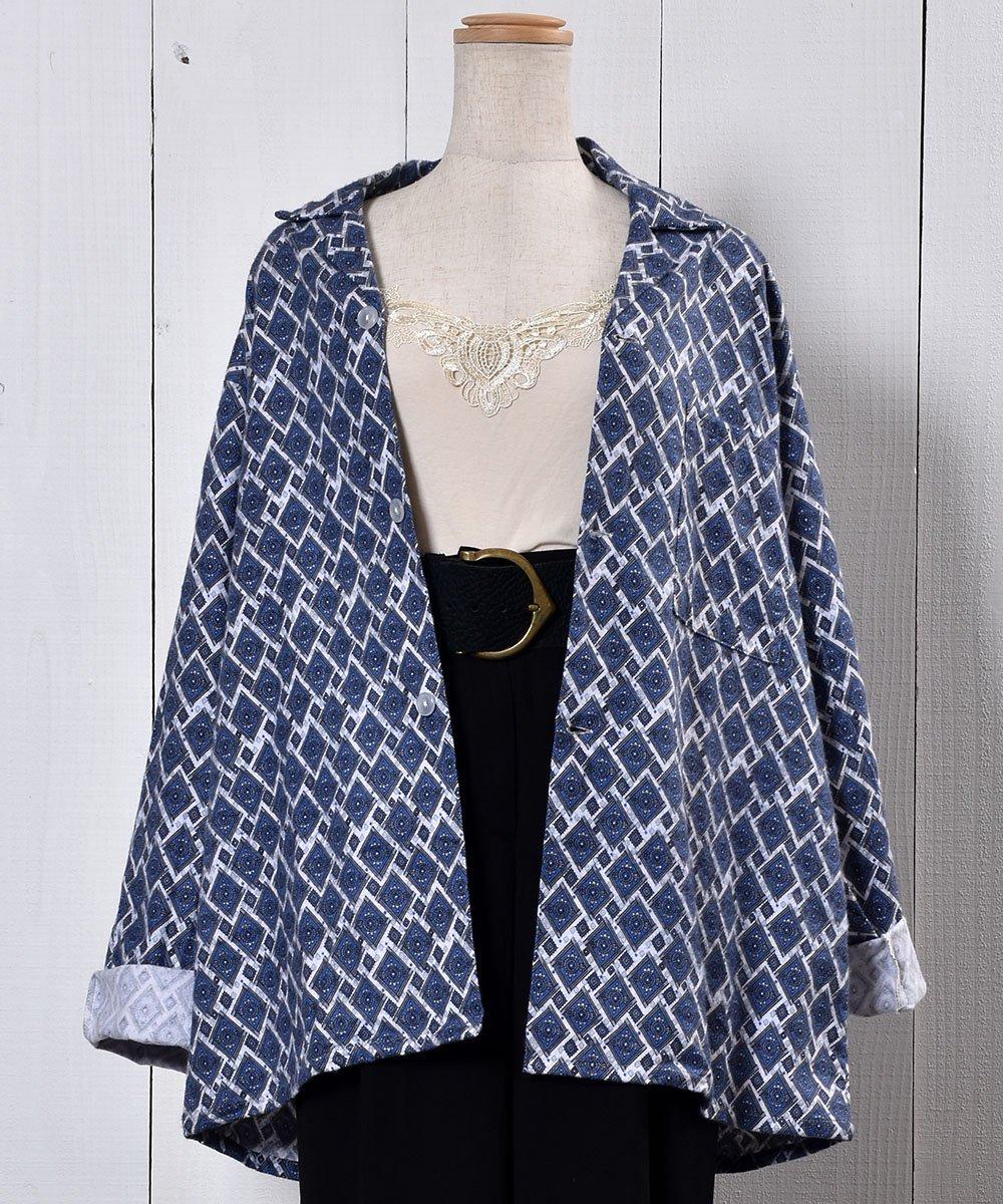 古着 Made in UK Small Pattern Pajamas Shirt イギリス製 小紋柄パジャマシャツ  古着 ネット 通販 古着屋グレープフルーツムーン