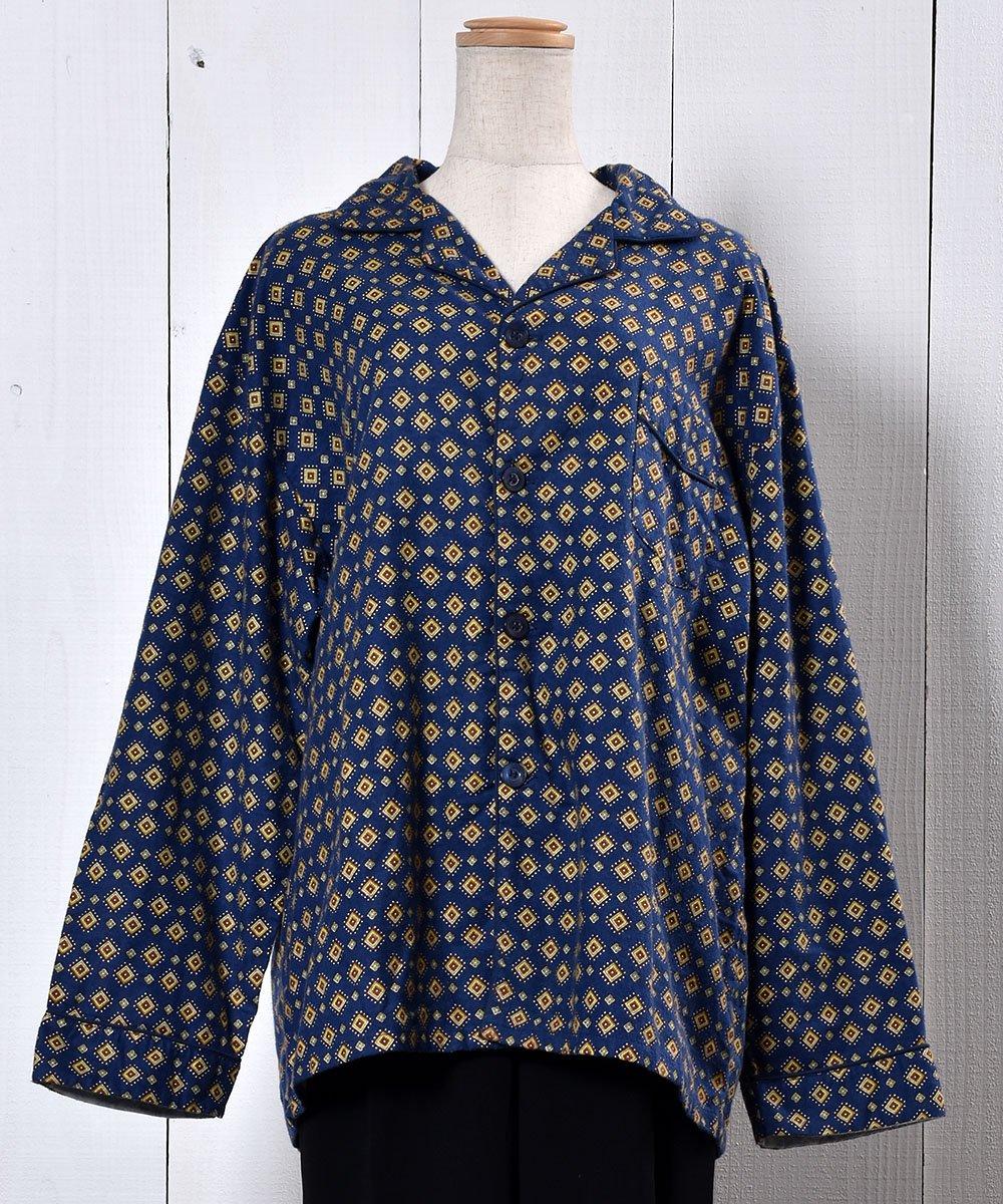 Navy Small Pattern Pajamas Shirt|小紋柄パジャマシャツ ネイビー系サムネイル