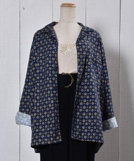 古着Navy Small Pattern Pajamas Shirt|小紋柄パジャマシャツ ネイビー系 古着のネット通販 古着屋グレープフルーツムーン