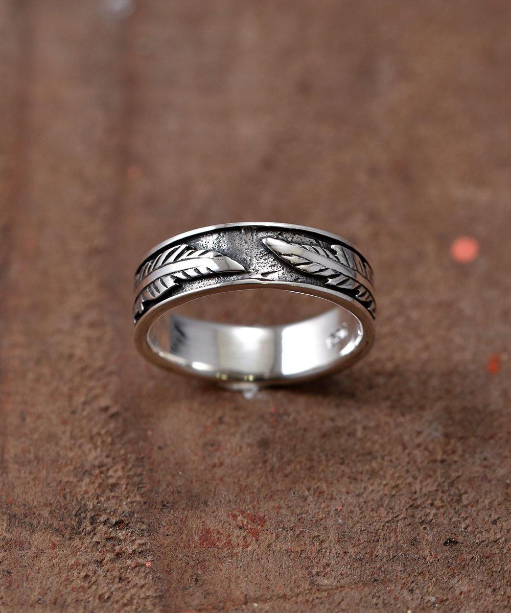 古着 Silver Ring Feather Pattern | フェザーパターン シルバーリング 古着 ネット 通販 古着屋グレープフルーツムーン