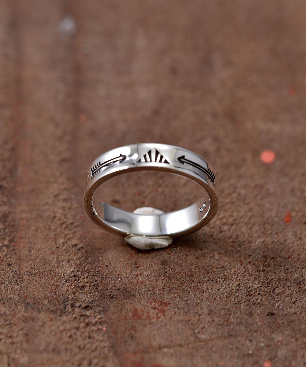 古着 Silver Ring Arrow & Fence Stamp | ネイティブアメリカン シンボル モチーフ シルバーリング 古着 ネット 通販 古着屋グレープフルーツムーン