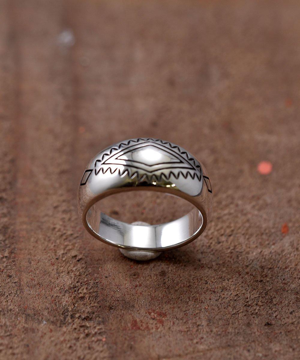 古着 Silver Ring Rhombus & Fence Stamp | ネイティブアメリカン シンボルモチーフシルバーリング 古着 ネット 通販 古着屋グレープフルーツムーン