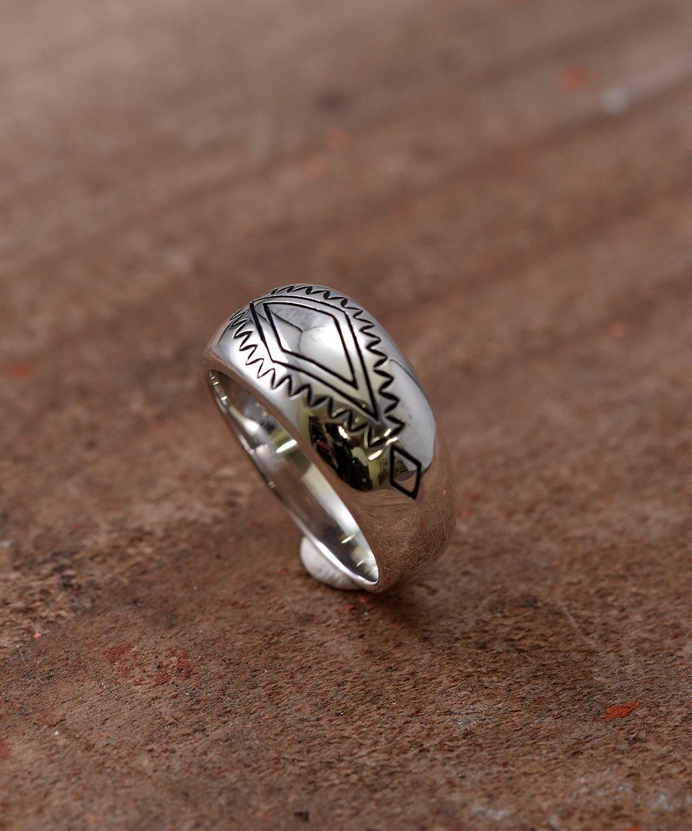 Silver Ring Rhombus & Fence Stamp | ネイティブアメリカン シンボルモチーフシルバーリングサムネイル