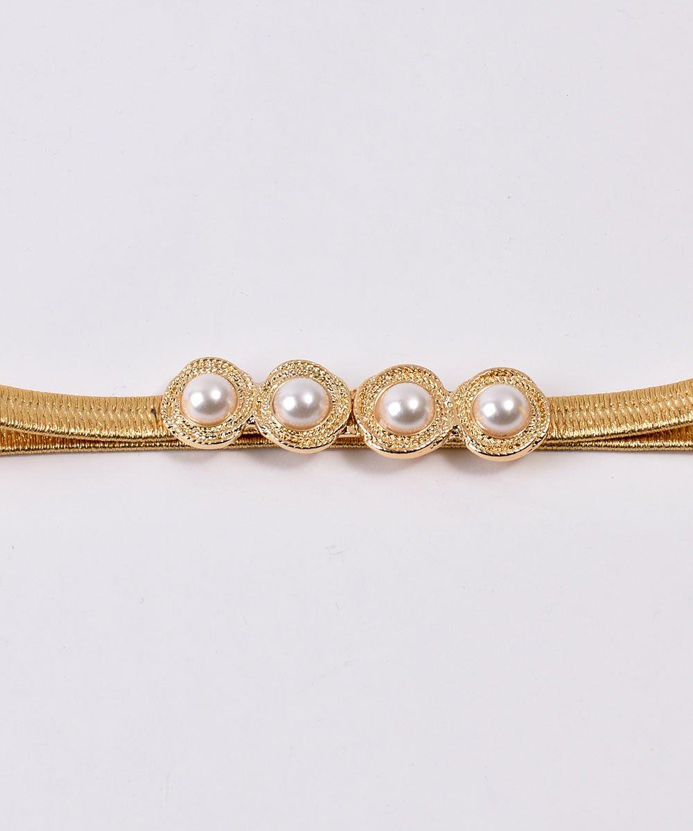 Pearl Circle Belt| 真珠デザイン ゴムベルト ゴールドサムネイル