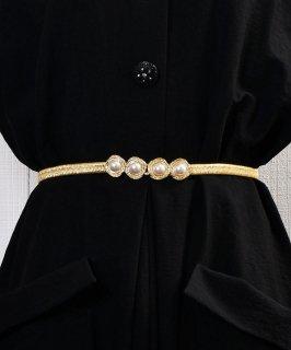 古着Pearl Circle Belt| 真珠デザイン ゴムベルト ゴールド 古着のネット通販 古着屋グレープフルーツムーン