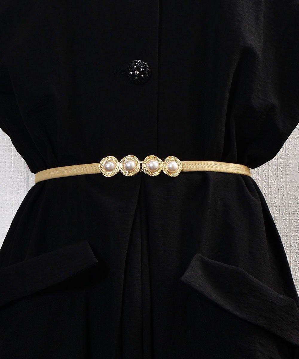 古着 Pearl Circle Belt| 真珠デザイン ゴムベルト ベージュ 古着 ネット 通販 古着屋グレープフルーツムーン