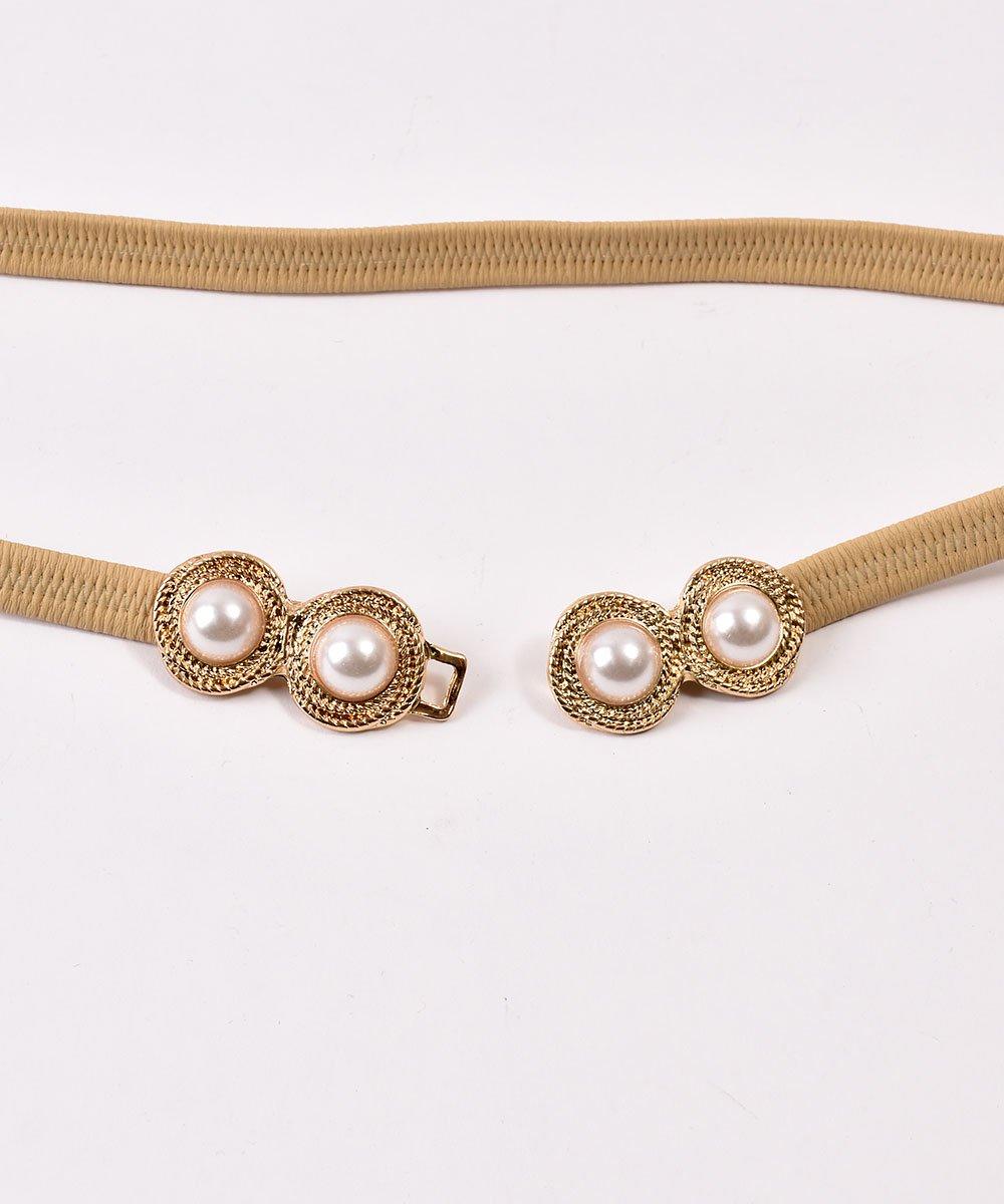 Pearl Circle Belt| 真珠デザイン ゴムベルト ベージュサムネイル
