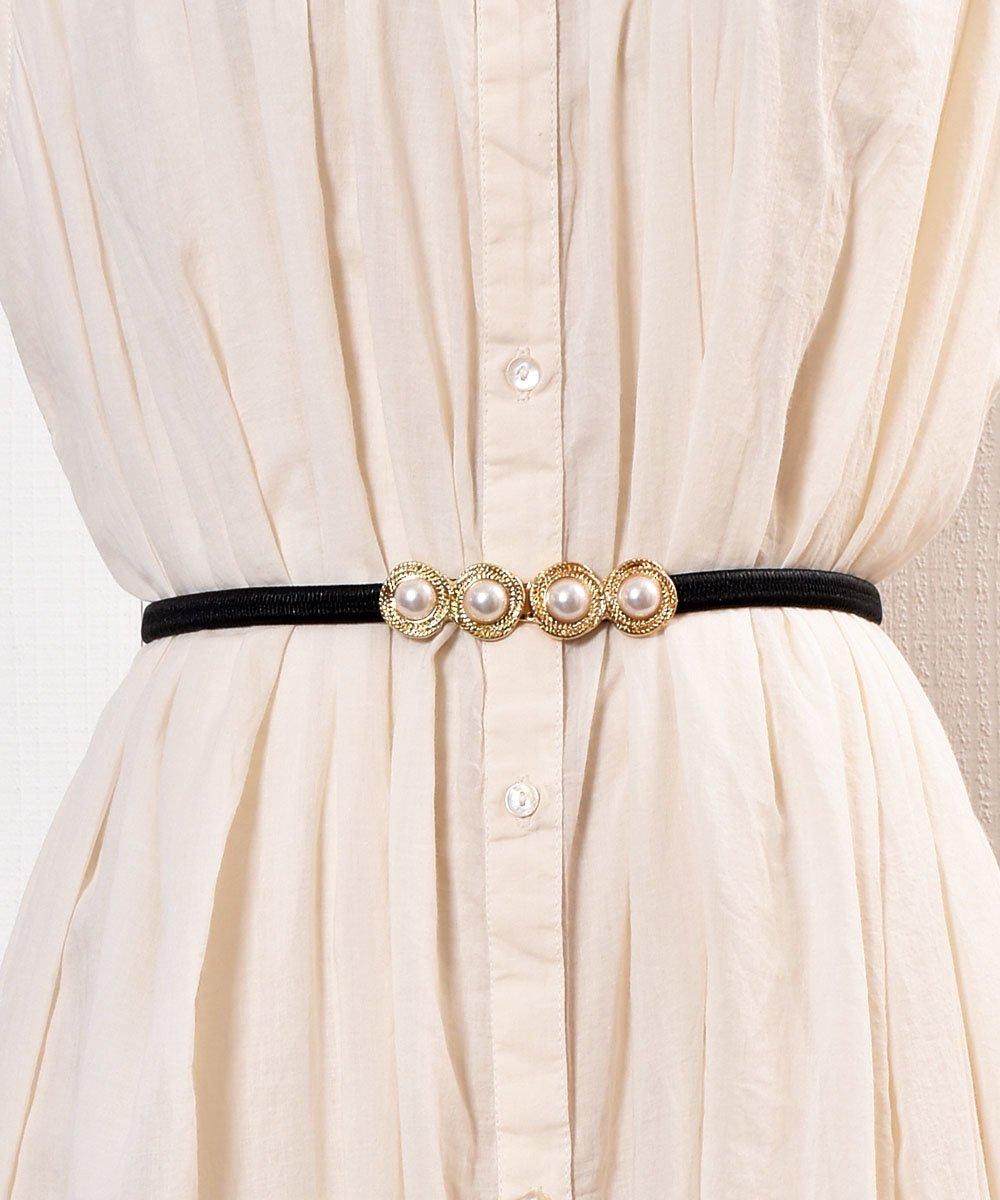 古着 Pearl Circle Belt| 真珠デザイン ゴムベルト ブラック 古着 ネット 通販 古着屋グレープフルーツムーン