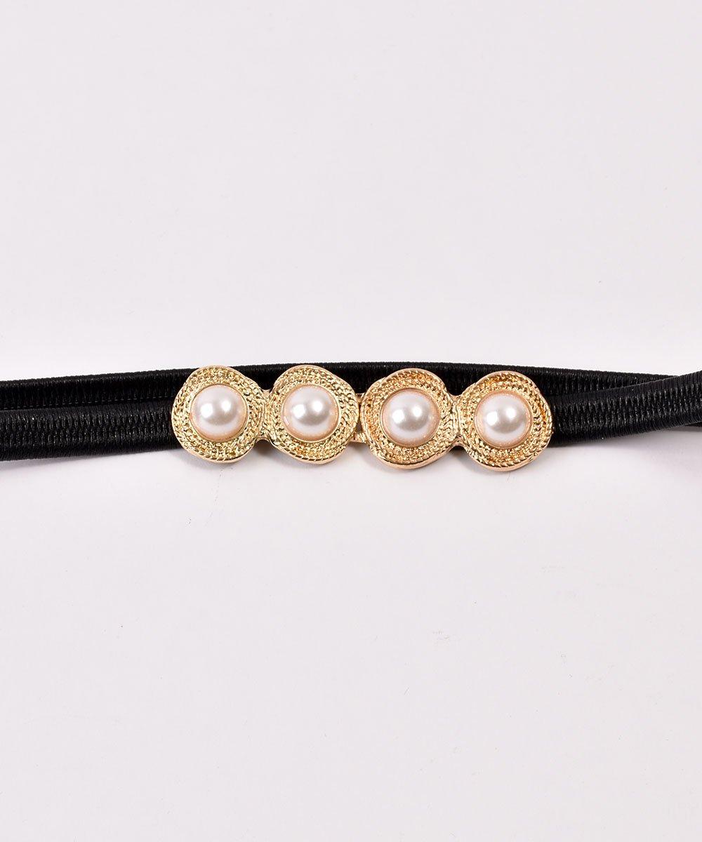 Pearl Circle Belt| 真珠デザイン ゴムベルト ブラックサムネイル