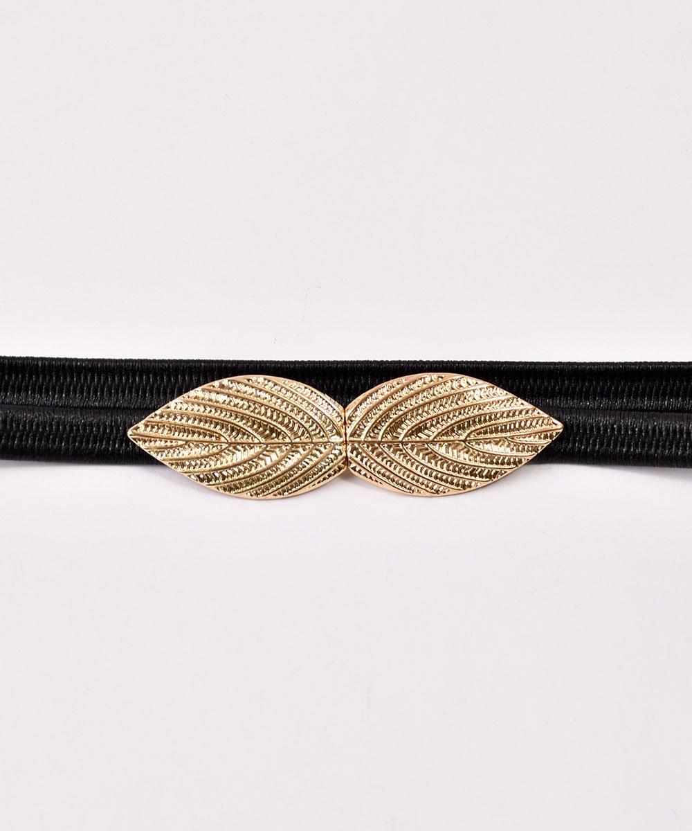 Leaf Motif Belt| リーフモチーフ ゴムベルト ブラックサムネイル
