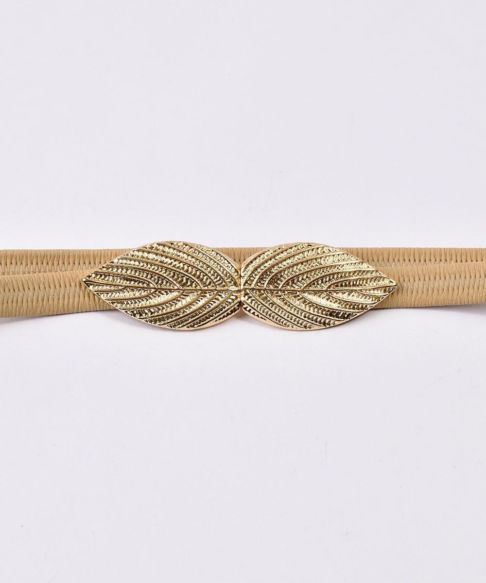 Leaf Motif Belt| リーフモチーフ ゴムベルト ベージュサムネイル