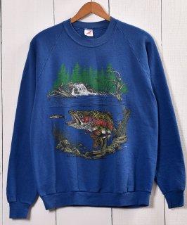"""古着Made in UAS """"JERZEES"""" Bass Fishing Print Sweat アメリカ製 バスフィッシング プリントスウェット  古着のネット通販 古着屋グレープフルーツムーン"""