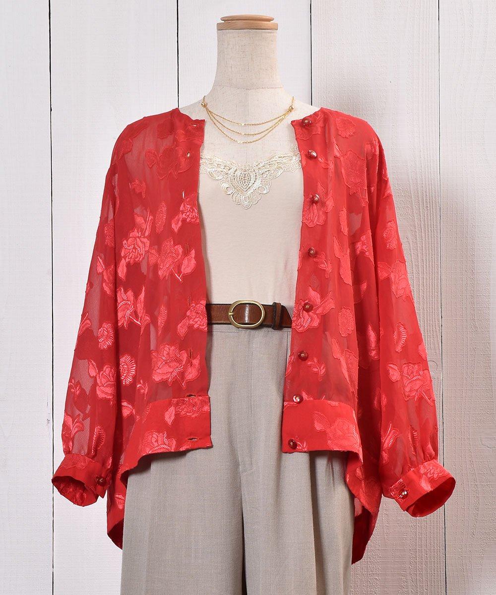 古着 Flower Pattern Sheer Shirt|花柄シアーシャツ | ノーカラーシャツ | オリエンタル柄 古着 ネット 通販 古着屋グレープフルーツムーン