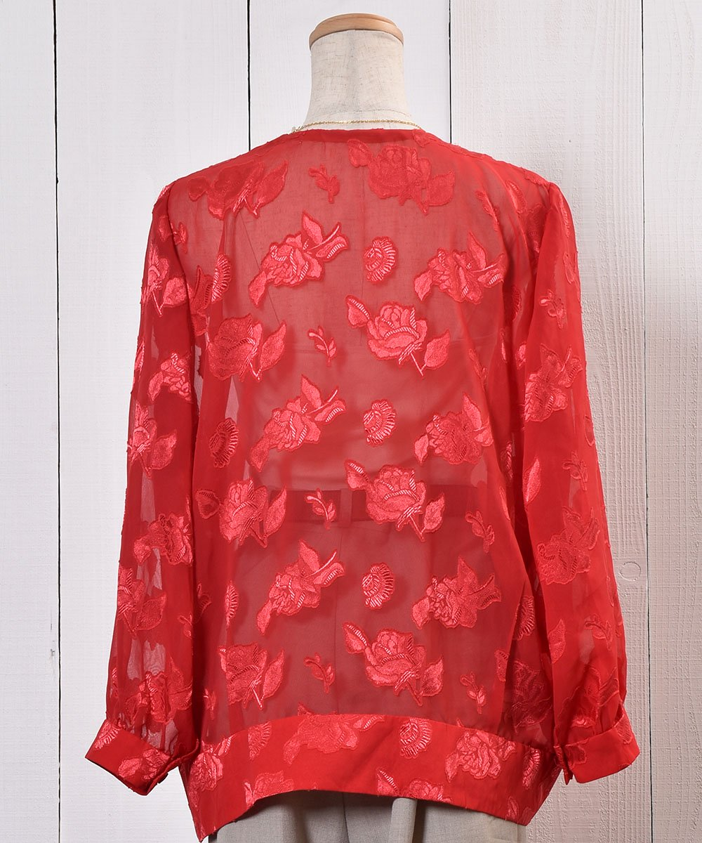 Flower Pattern Sheer Shirt|花柄シアーシャツ | ノーカラーシャツ | オリエンタル柄サムネイル