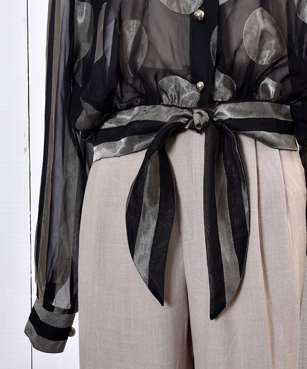 Dot × Stripe Pattern  Sheer Blouse ドット×ストライプ シアーブラウス   シアーシャツ   ショートシャツサムネイル