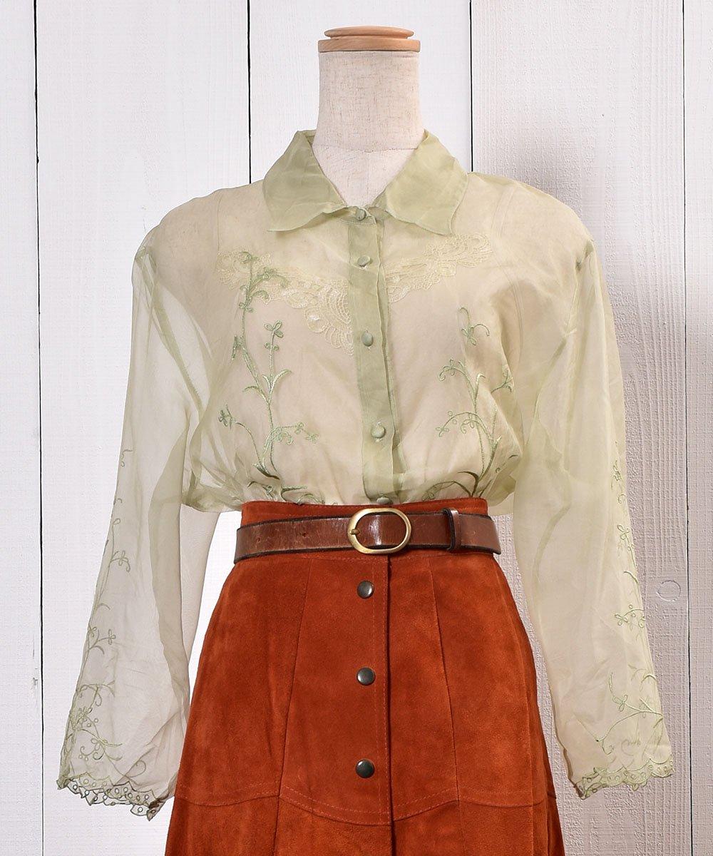 古着 Flower Embroidery Sheer Shirt 花刺繍シアーシャツ   古着 ネット 通販 古着屋グレープフルーツムーン