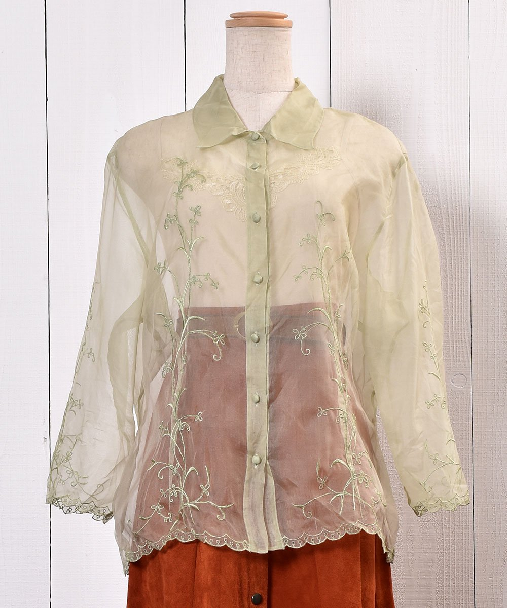 Flower Embroidery Sheer Shirt 花刺繍シアーシャツ  サムネイル