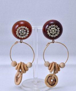 古着Made in USA Circle Motif Earring Stone Wood Parts |アメリカ製 丸型 ストーン ウッドパーツ イヤリング 古着のネット通販 古着屋グレープフルーツムーン