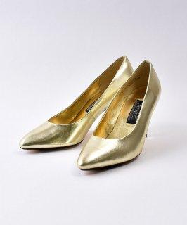 古着Gold  Leather  Pumps  | ゴールド レザーパンプス  古着のネット通販 古着屋グレープフルーツムーン