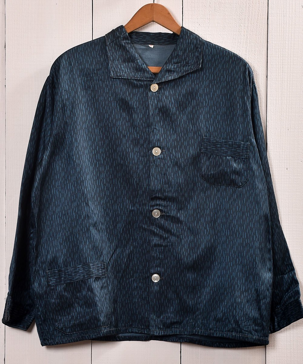 古着 Made in Europe Rainy Pattern Pajamas Shirt |ヨーロッパ製 レイニーパターン パジャマシャツ 古着 ネット 通販 古着屋グレープフルーツムーン