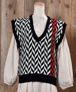 古着 V Neck Knit Vest  Vネック  ニット ベスト ブラック×ホワイト 古着のネット通販 古着屋グレープフルーツムーン
