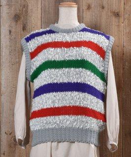 古着Multi Border Low Gauge Knit Vest マルチボーダー ローゲージ ニットベスト 古着のネット通販 古着屋グレープフルーツムーン