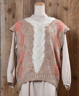 古着 Big Silhouette Cable Knitting Vest ビッグシルエット ケーブル編み ニットベスト  古着のネット通販 古着屋グレープフルーツムーン