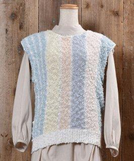 古着Stripe Pattern Knit Vest ストライプ ローゲージ ニットベスト 古着のネット通販 古着屋グレープフルーツムーン