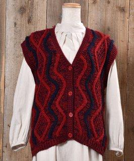 古着Design Knitting V Neck Vest ニュアンスカラー デザインVネックニットベスト 古着のネット通販 古着屋グレープフルーツムーン