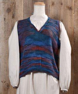 古着Mix Color V Neck Knit Vest ミックスカラー Vネック ニット ベスト 古着のネット通販 古着屋グレープフルーツムーン