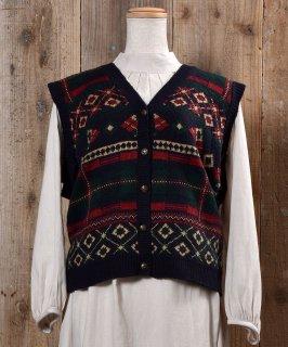 古着Made in USA Nordic Pattern Gold Button Knit Vest アメリカ製 ノルディック柄 ゴールドボタン ニットベスト 古着のネット通販 古着屋グレープフルーツムーン