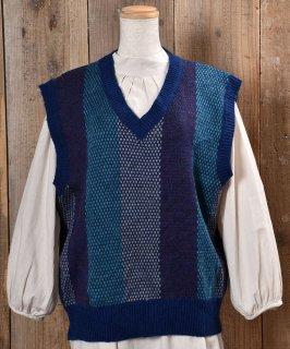 古着Stripe Pattern V Neck Knit Vest ストライプ Vネック ニットベスト ブルー系 古着のネット通販 古着屋グレープフルーツムーン