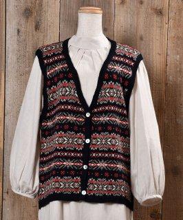 古着Nordic Pattern V Neck Rib Knit Vest ノルディック柄Vネック リブニットベスト 古着のネット通販 古着屋グレープフルーツムーン