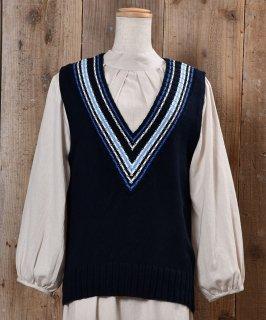 古着MADE IN UK V Neck Knit Vest ストライプ Vネック ニットベスト イギリス製 ネイビー系 古着のネット通販 古着屋グレープフルーツムーン